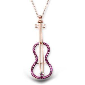 925 Sterling Silver Pink CZ Violin Rose Color